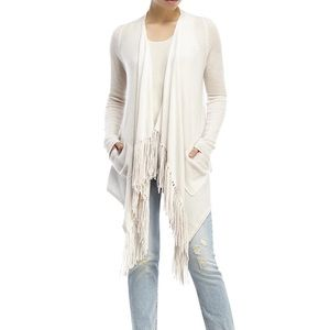 360 Cashmere | Dominique Fringe Open Cardigan